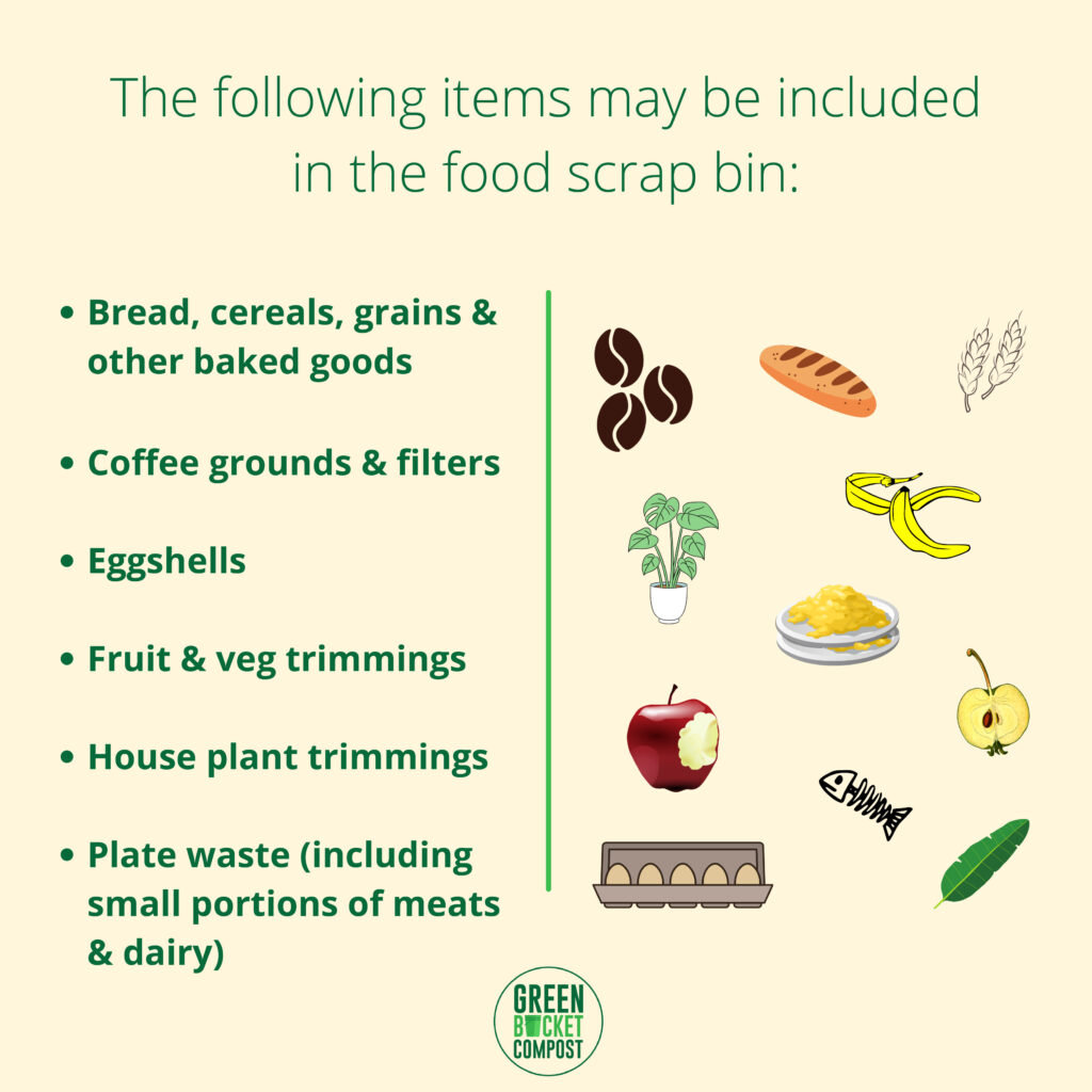 The list of items that you can put in your food scrap bin