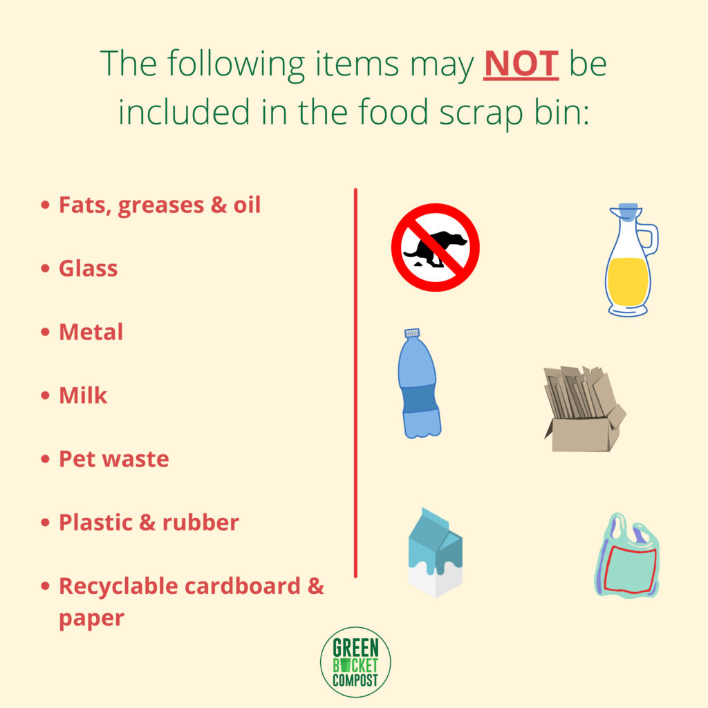 The list of items not to put in your food scrap bin