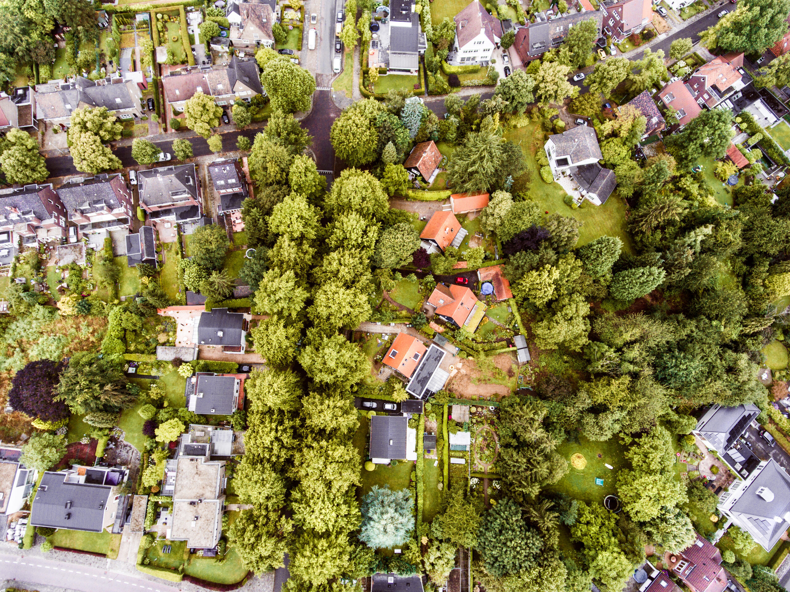 Bird's eye view over a residential development community